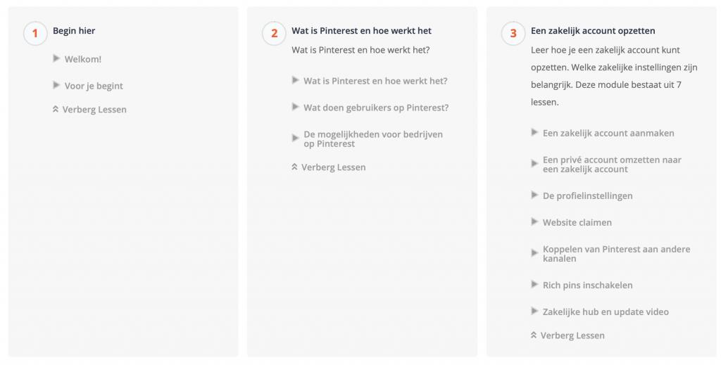 Inhoud Pinterest Training
